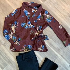 Zara Maroon Floral Print Tie Front Blouse, Medium